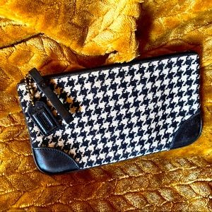 COACH Hounds Tooth Travel Pouch Black and White